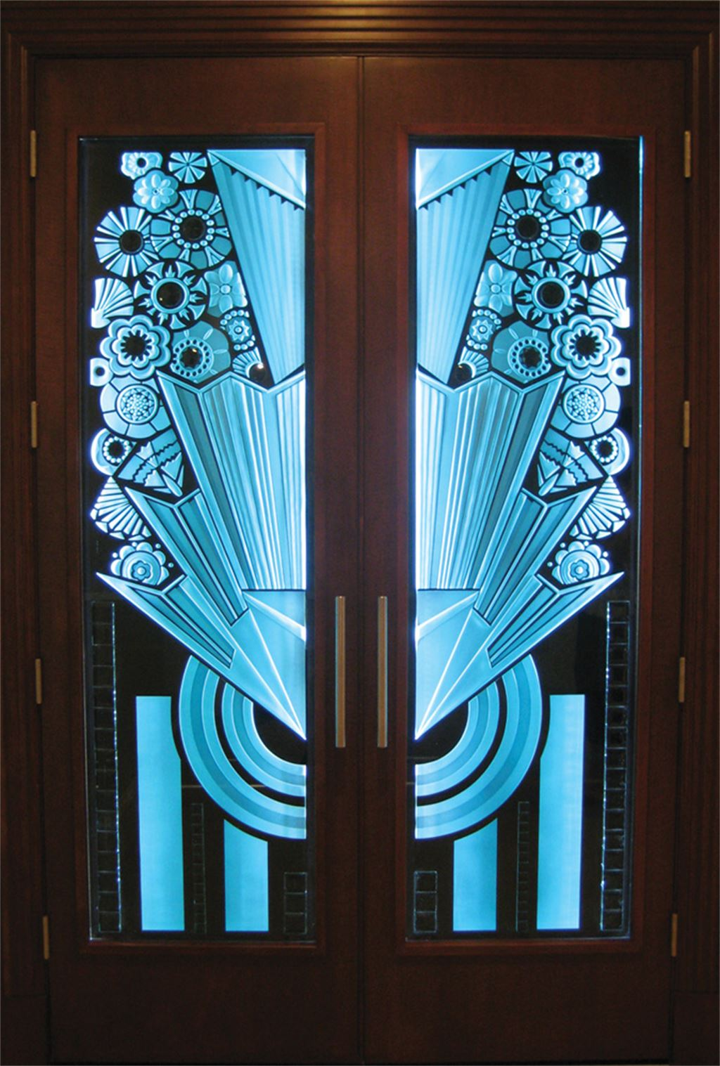 Double entry door art deco doors signature art glass for Art deco interior doors home